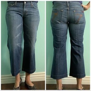 7FAM cropped wide-leg jeans
